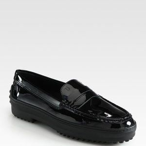 TOD'S Gommino Black Patent Leather Driving Loafers